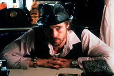 (Brad Pitt) as Mickey O'Neil in the movie Snatch