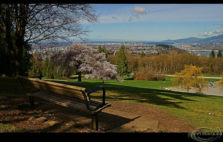 Come and relax with me for a while!  Another lovely view from Burnaby Mountain Park near Vancouver, BC, Canada with some cherry blossoms!  Taken by me / ©ANN BADJURA! :)