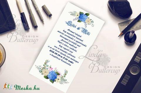 Esküvői meghívó Kék Hortenzia Virágos, Nyári Virágos Esküvői lap, Hortenzia, virágos meghívó, Kék Esküvő, Esküvő, Naptár, képeslap, album, Meghívó, ültetőkártya, köszönőajándék, Képeslap, levélpapír, Meska