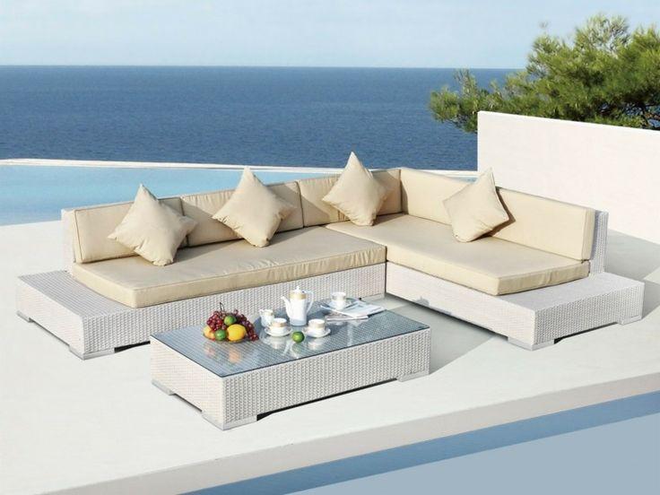 muebles de terraza de rattan blanco