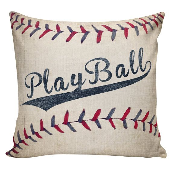 SHIPS TODAY Baseball Pillow Cover - 100% cotton front, cotton or burlap back Vintage Sports Theme Man Cave  Boys Room Decor Stub24 #S20012