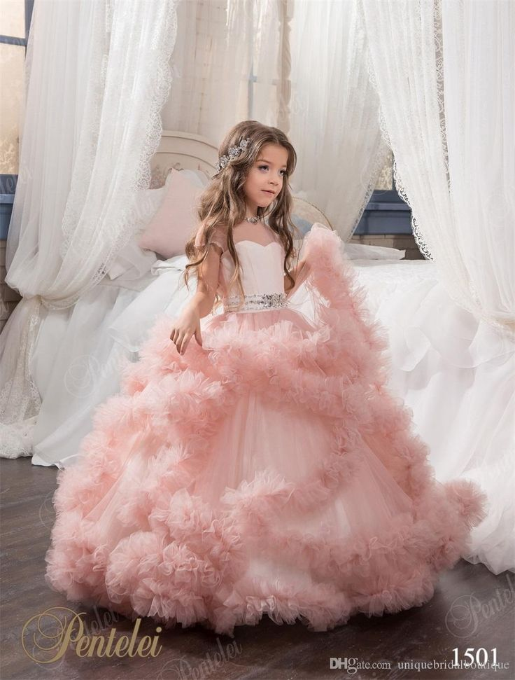 Flying Cloud Flower Girls Dresses 2016 Pentelei Princess Tiered Blush Pink Tulle Tutu Girls Pageant Gowns Floor Length Custom Made Flower Girls Dresses Cheap Flower Girls Dresses Online From Uniquebridalboutique, $107.73| Dhgate.Com