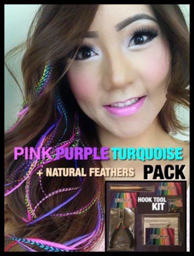 Feather Hair Extensions Pink Purple Turquoise XXXL LONG 20  4FREE Pack