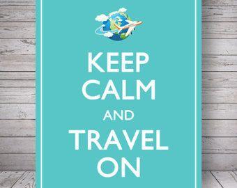 Mantenere la calma e viaggiare su blu di FabulousScrap su Etsy