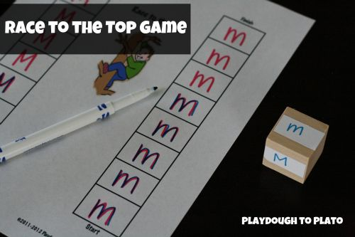 Teach children to write/recognize upper and lowercase letters playing Race to the Top. Free printable.