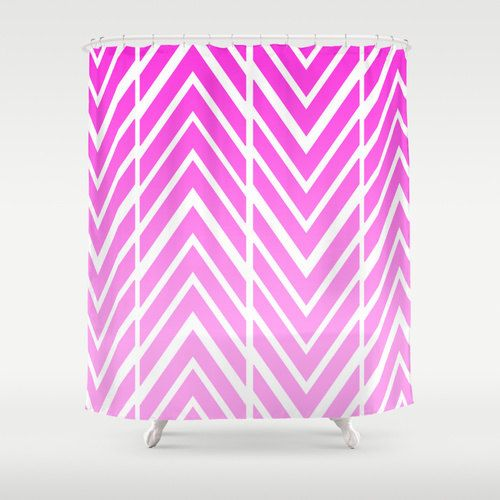 Pink Shower Curtain - Pink and White Arrow Shower Curtain - Bathroom Decor - Made to Order by ShelleysCrochetOle on Etsy