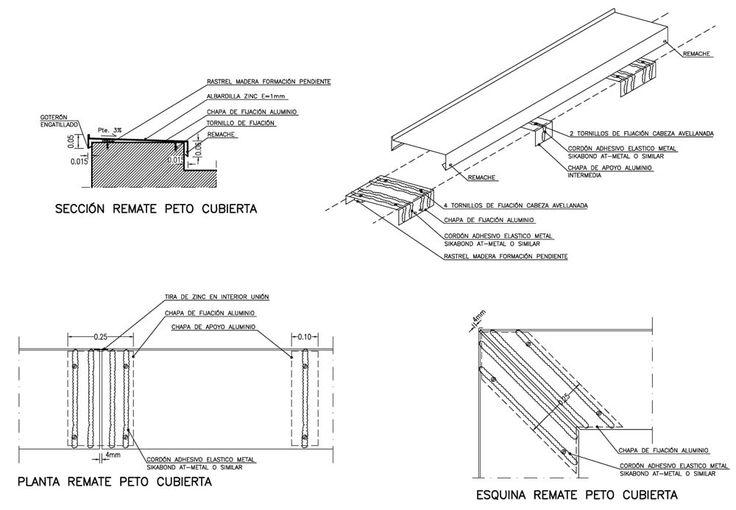 Remate peto cubierta plana en zinc | AD+ arquitectura