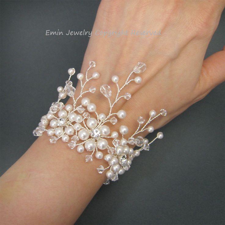 Bridal Bracelet, White Pearl Rhinestone Bracelet, Pearl Wedding Bracelet, Crystal Wide Bracelet, Bridesmaids Bride Jewelry. $75.00, via Etsy.