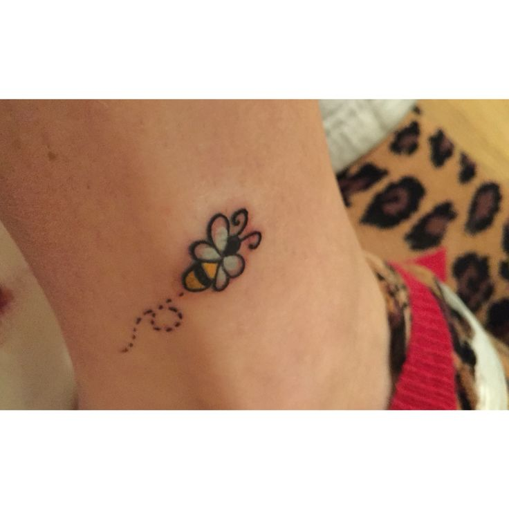 Tiny bumble bee tattoo on ankle