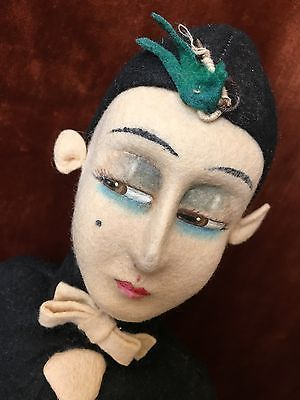 EXTREMELY-RARE-c1926-Alma-Felt-Pierrot-Character-Doll-21-Italy-Fabulous-Face