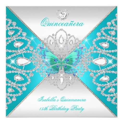 213 best quinceanera invitations images on pinterest birthday quinceanera 15th teal silver butterfly tiara 2 525x525 square paper invitation card stopboris Gallery