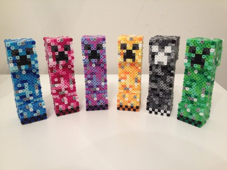 3D Minecraft Colored Creepers perler beads by RetroNinNin on deviantART