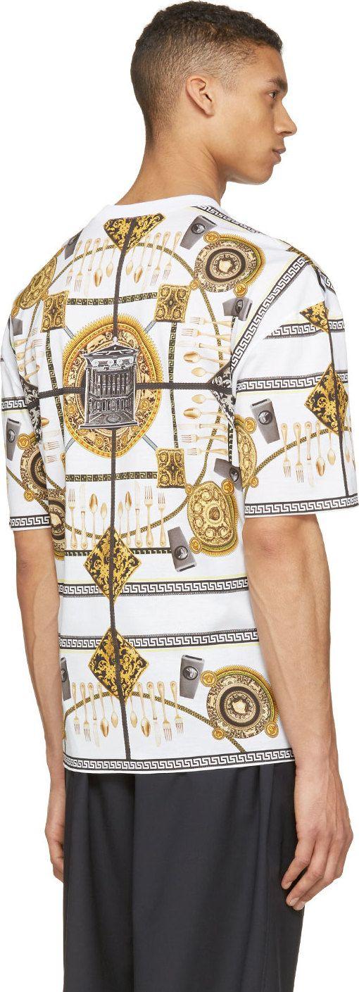 Versace White & Gold Dinner Table T-Shirt