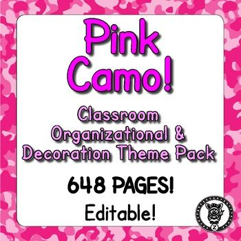 Looking for some options for your classroom, so you can pick and choose what you want? This megapack /bundle contains 709 pages of printables for you to use, decorate and organize your classroom! Even if you don't have a themed classroom there are some great materials for you to use in your classroom. This is themed with a pink camo / camouflage pattern. Check out the preview file for better images!