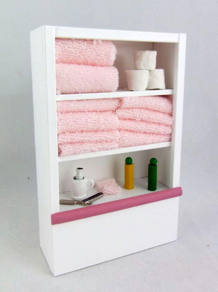 Details About Dolls House Miniature Furniture White Bathroom Shelf Unit Accessories Pink