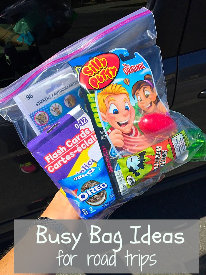 Busy bags to keep kids happy and occupied on road trips. What to pack, and what to do on long trips with kids!! #oreomultipacks #sponsored