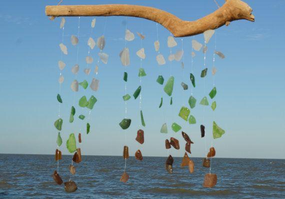 Sea Glass Wind Chime ~ Driftwood BeachGlass Windchime ~  Rustic Wind chimes for beach nature lover, Ocean Inspired SeaGlass Art, Wedding