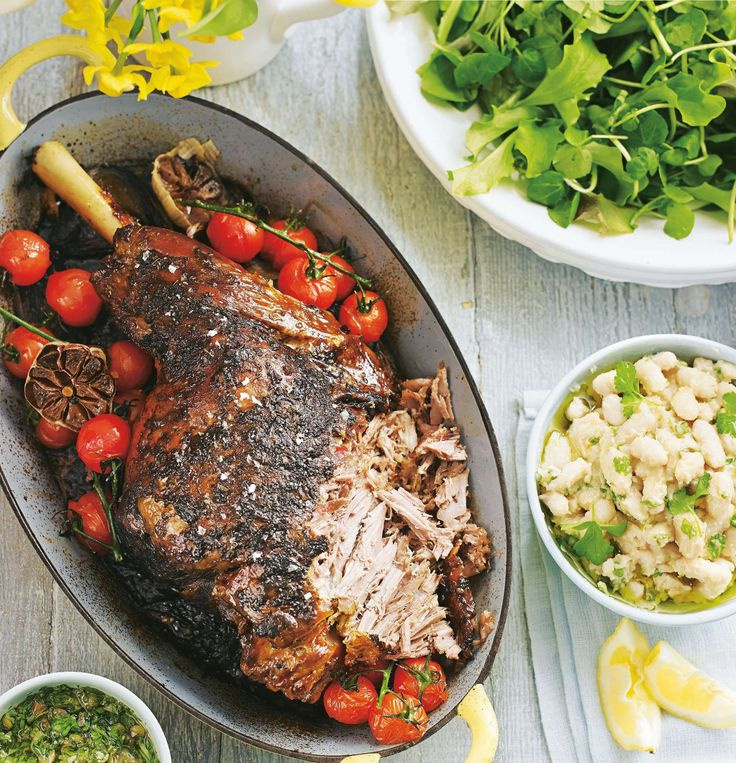 ... roasted leg of lamb with smashed white beans, salsa verde and a green