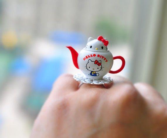 Hello Kitty peek a boo teapot ring by lepetitebonbon on Etsy
