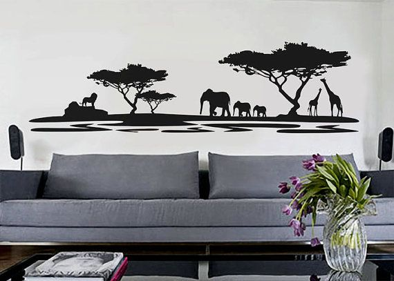 African Safari - uBer calcomanías pared calcomanía vinilo decoración arte adhesivo removible Mural moderna A345