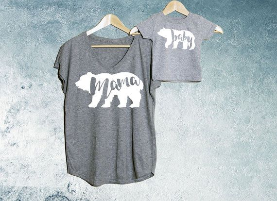 Mama Bear  Baby Bear T-shirt Heather Grey Set of 2 Mama Bear