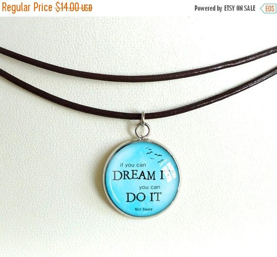 ON SALE Leather choker necklace, inspirational choker, quote picture charm necklace, motivational wrap adjustable choker, statement image je