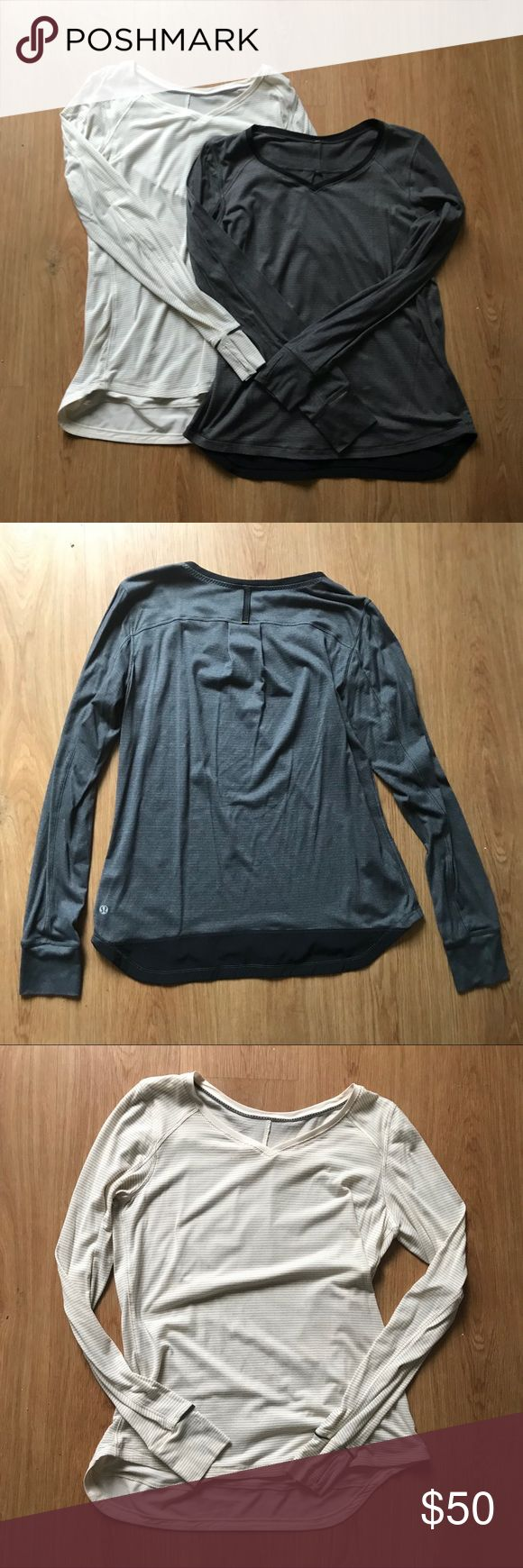 Bundle 2 Lululemon V neck LS Tops Bundle 2 Lululemon V neck Long sleep tops. Sweat wicking fabric, but great for layering. Thumb holes, excellent used condition. Minimal pilling (fabric shown in photos). No stains or rips. The back of the shirt on the bottom are reinforced as are most of the seams. Make an offer ❤️🔥 Save 20% on Bundles 👍🏻✌🏻❄️ lululemon athletica Tops Tees - Long Sleeve