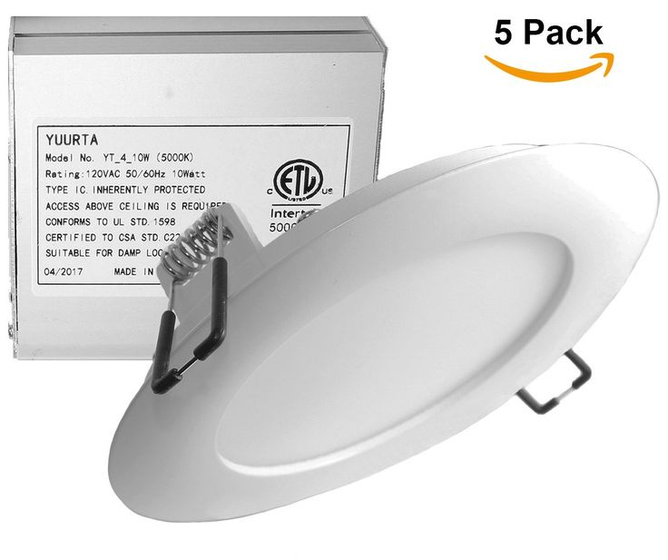 YUURTA 4-Inch 10W 120V Recessed Ceiling LED Light Dimmable Retrofit Ultra-Thin Downlight with Remote Driver in Junction Box Round Slim Panel ETL Listed IC Rated (5000K, 5-pack)
