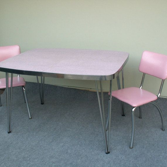 ~~~~available For Local Pick Up Only In Westchester Illinois~~~~ ~~~~this  Item Does Not Ship~~~~ ~~pink And Gray Formica Table With Two Pink Ch.