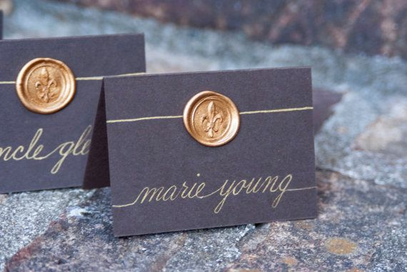 Wedding Name Place Cards / Escort Cards / Buffet Table Cards Hand Calligraphy - Fleur-de-lis Wax Seal - Vintage Inspired on Etsy, $2.25