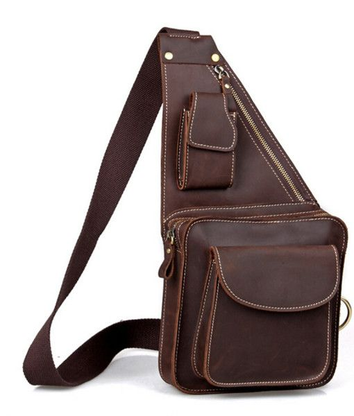 Real Leather Durable Chest Pack Chest Bag (1)