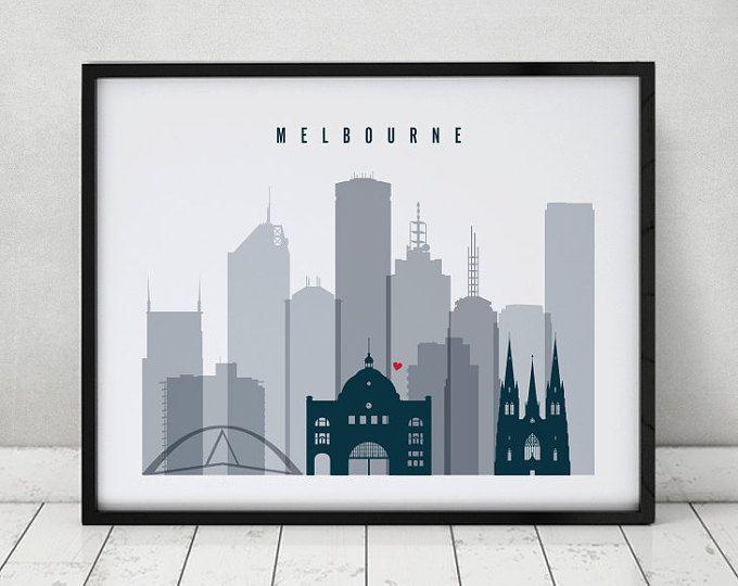 Melbourne art print, Poster, Travel, Wall art, Australia cityscape, skyline, Wall decor, City prints Travel, Home Decor, ArtPrintsVicky