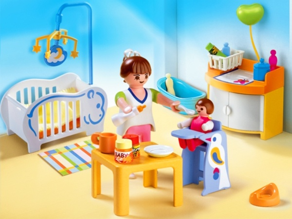Playmobil Baby Room set with Mobile Includes one changing table with hanging mobile, one crib, one rug, one plant, two figures and more! .$14.99