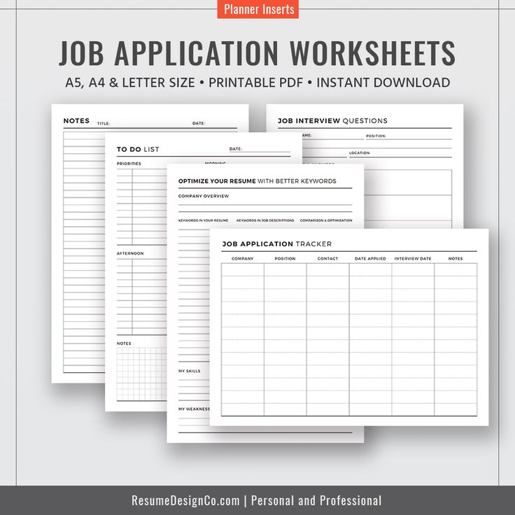 Job Application Tracker, Resume Action Verbs Checklist