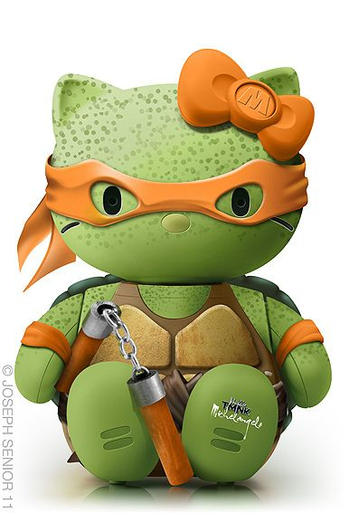 Michelangelo hello kitty. This. Is. AWESOME! Haha!Crazy Cats, Design Inspiration, Hello Michelangelo, Pop Culture, Ninjas Turtles, Tmnt, Hellokitty, Ninja Turtles, Hello Kitty