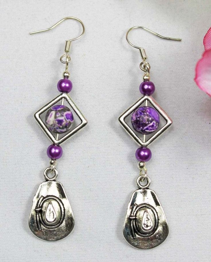 COWBOY HAT HORSE JEWELLERY EARINGS BRAND NEW PURPLE & SILVER TONE HAND MADE