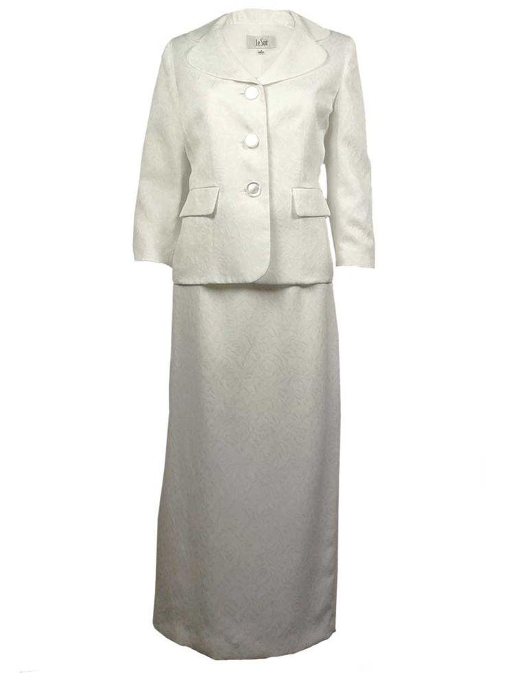 Le Suit Women's Water Lilies Floral Textured Skirt Suit