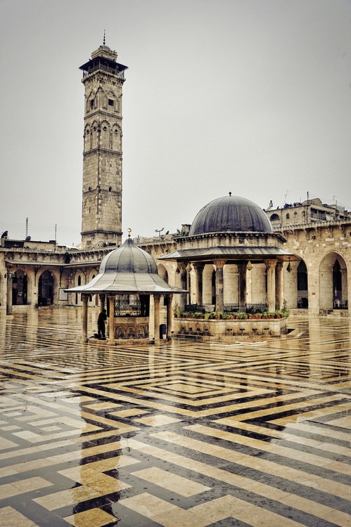 Great Umayyad Mosque in Aleppo is one of the largest mosques in the city, and one of the Islamic historical landmarks.