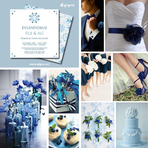 Gigno C30 davetiye ile mavi düğün fikirleri.. Blue Inspiration board.