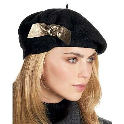 berets for women | hat attack wool beret with leather bow classically styled wool beret