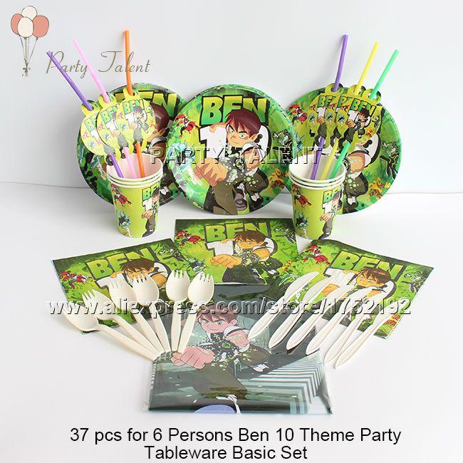 Ну вечеринку поставляет 37 шт. для 6 человек бен 10 тема день рождения ну вечеринку украшения одноразовая посуда базовый комплект, плита чашки салфетки т . д .