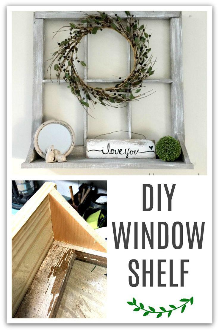 Create a window shelf from an old window and scrap wood. Homeroad.net