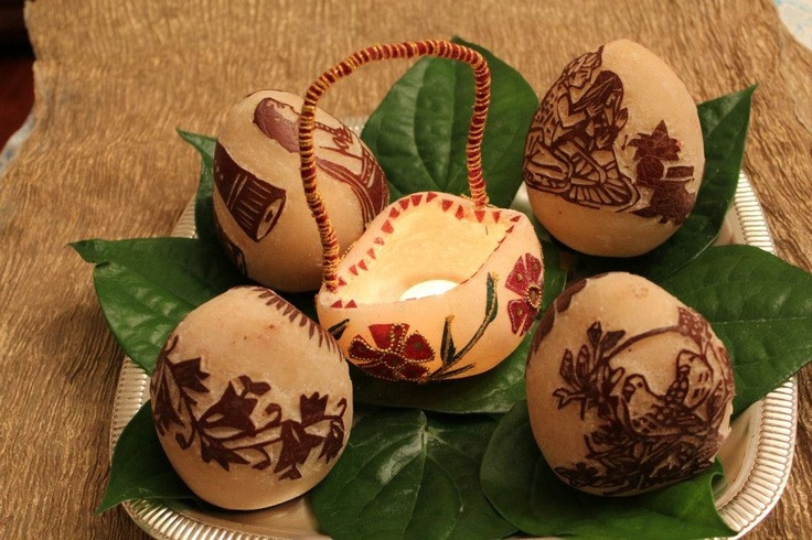 Carved coconuts - South Indian wedding tradition
