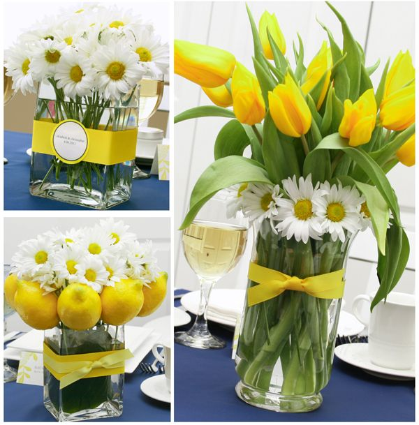 Brighten up daisy centerpieces with lemons or tulips. So cute for a spring or summer #wedding!
