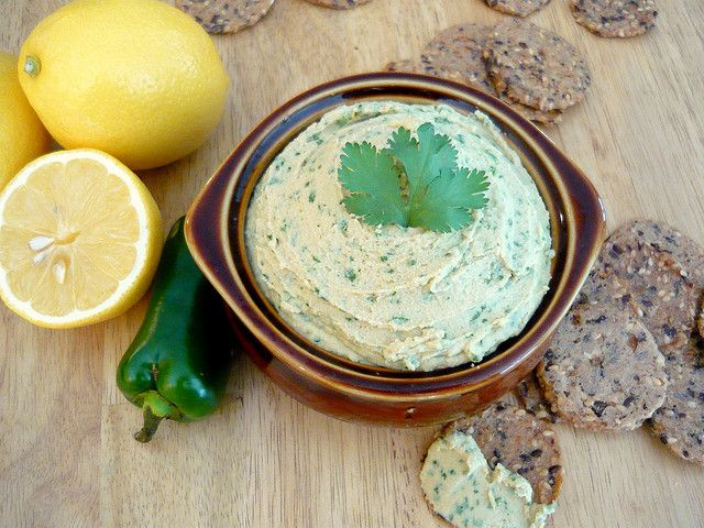 Cilantro-Jalapeno Hummus by Buff Chickpea, via Flickr. Used lime juice instead of lemon and also added 2 tbsp of extra virgin olive oil, tahini instead of cashew butter, One and one half jalapenos as opposed to one.  AMAZING! Super easy to make and could not stop eating it!