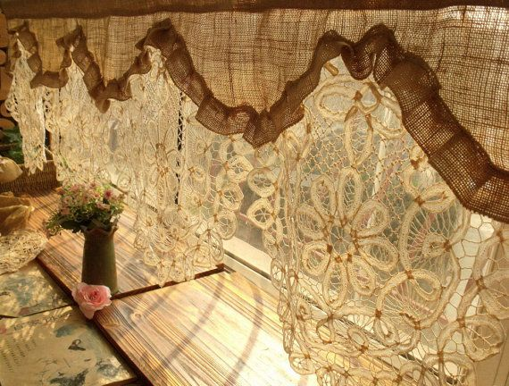 Custom GORGEOUS! Custom ANTIQUE Lace RUFFLED Valance Burlap Window Curtain shabby Rustic Chic Cream