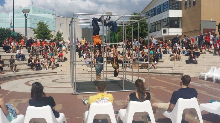 Captive being performed for delegates of the conference and memeber sof the public at Warwick Arts Centre #dance #contemporarydance #aerial #acrobats #cage #streettheatre #streetart #street #performance #amazingart