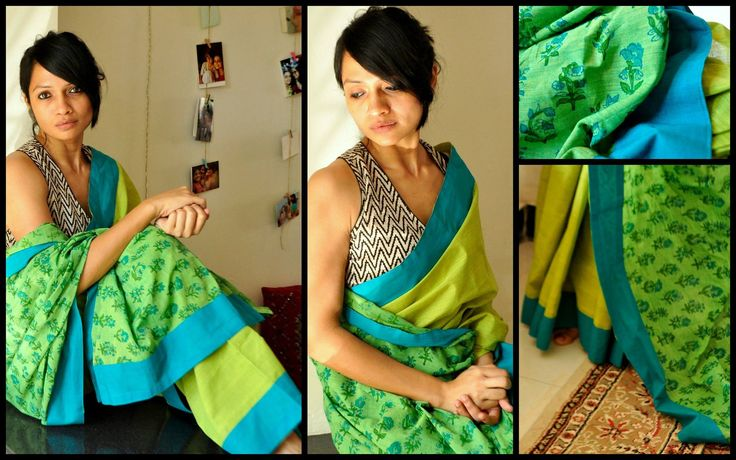 COTTON COLLECTION -THE LOST POSTCARD!  05 - GARDEN!!Green printed partly pallu cotton sari with turqoiuse blue border. It comes with lime green cotton blouse material.Price upon request (ONLY via emails/FB inbox messages).To order this sari and for other purchase related queries  kindly mail me at bhangthestore@gmail.com or send a message to FB inbox here!Orders for customising this sari can be placed only until stock lasts.  19 January 2017
