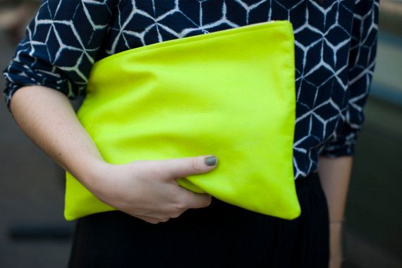 .: Neon Bags, Neon Green, Yellow Clutch, Leather Clutches, Neon Clutches, Fashion Accessories, Bright Yellow, Yellow Leather, Neon Yellow