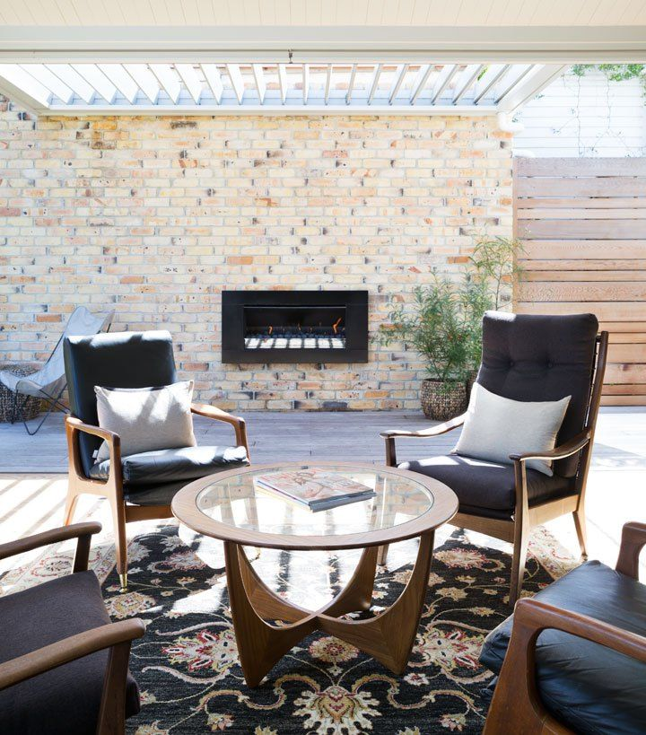 Escea's outdoor gas fireplace, great for entertaining!